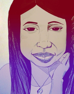 """Self Portrait,"" ink and digital colorization."