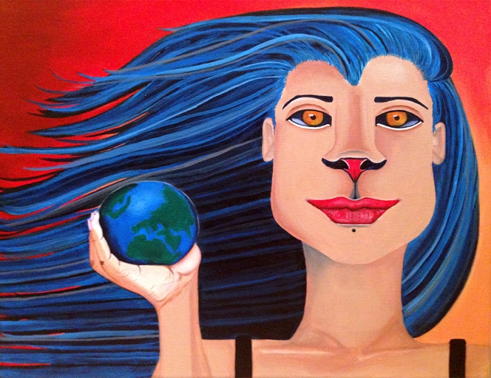 """""""The World Is Yours,"""" acrylic on canvas. 18"""" x 24""""."""