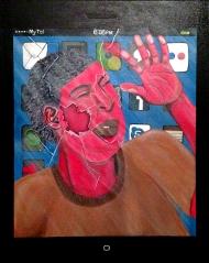 """False Identity,"" acrylic on canvas. 18"" x 24""."