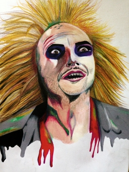 """""""beetlejuice!,"""" colored pencil on paper. 9"""" x 12""""."""