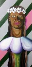 """""""Flower Girl,"""" acrylic on canvas. 12"""" x 24""""."""