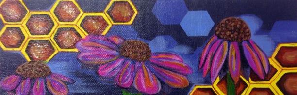"""Honey Trio,"" acrylic on canvas. 4"" x 12""."