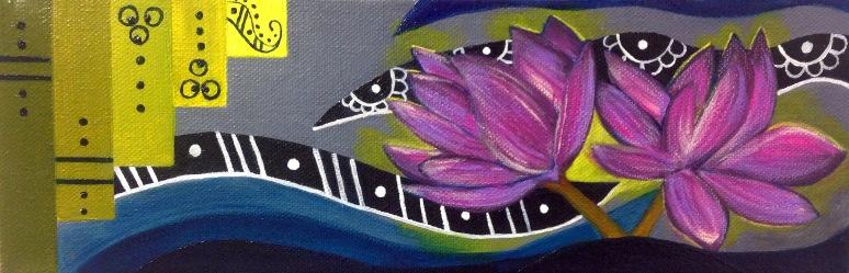 """""""Lotus Blossom,"""" mixed media. 4"""" x 12""""."""