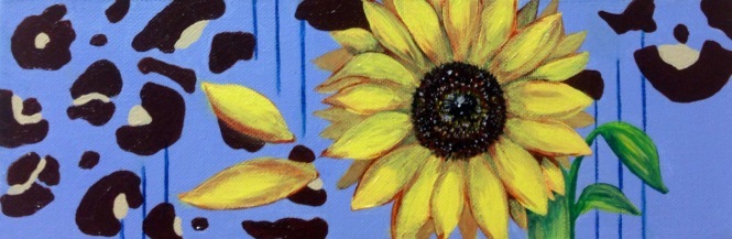 """Sunflower Shower,"" mixed media. 4"" x 12""."
