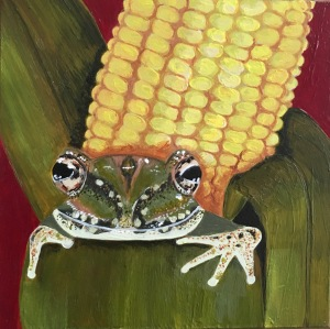 """The Corn Victim,"" acrylic. 4"" x 4""."