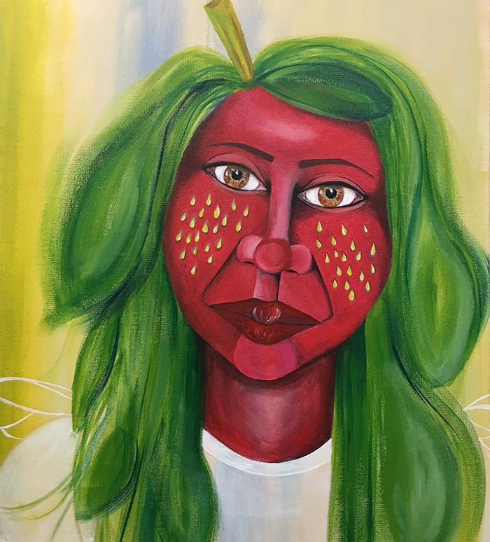 """""""Flyberry,"""" acrylic on canvas. 20""""x24""""."""