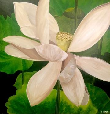 """Blossom"" 12"" x 12"" acrylic on panel."